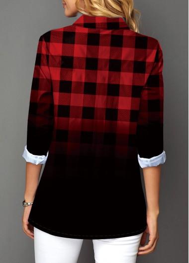 Christmas Rosewe Holiday Top Button Up Plaid Print Turndown Collar Christmas Shirt - M