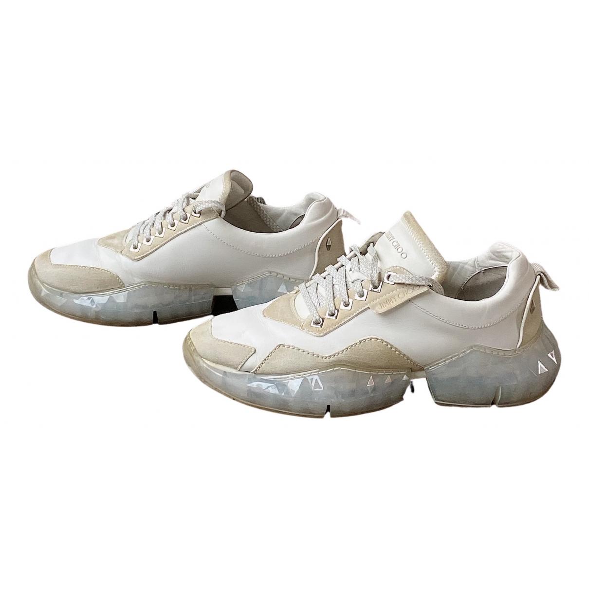 Jimmy Choo - Baskets Diamond Trail pour homme en cuir - blanc