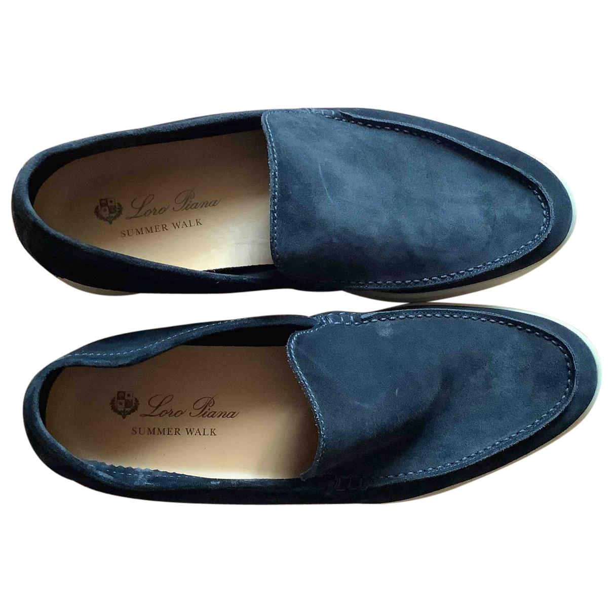 Loro Piana \N Blue Suede Flats for Men 43 EU