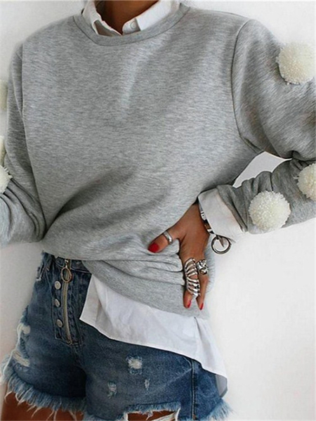 Yoins Grey Round Neck Long Sleeves Sweatshirts with Fur Ball Decorations