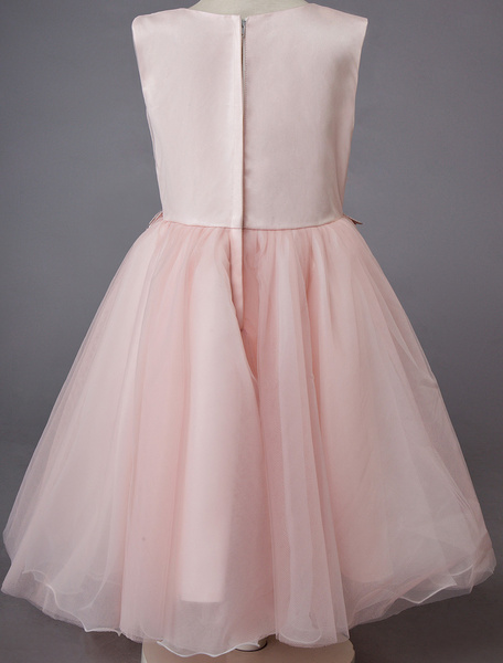 Milanoo Wedding Flower Girl Dress Lace Sleeveless Knee Length Princess Kids Formal Party Dresses