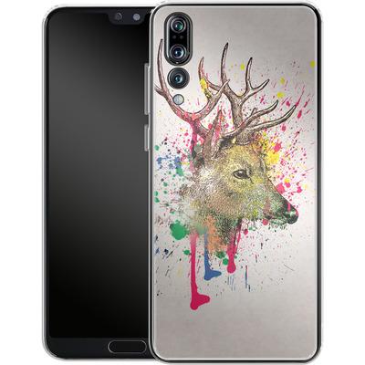 Huawei P20 Pro Silikon Handyhuelle - Splatter Deer von Mark Ashkenazi
