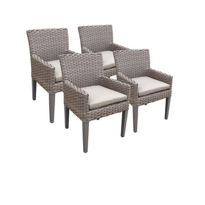 TKC297b-DC-2x-C-BEIGE 4 Oasis Dining Chairs With Arms with 2 Covers: Grey and