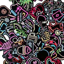 100pcs Mixed Pattern Neon Sticker