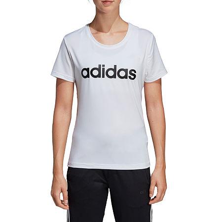 adidas Designed To Move Tee-Womens Crew Neck Short Sleeve T-Shirt, X-large , White