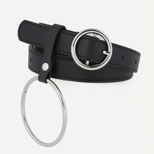 Round Buckle Belt With Ring Pendant