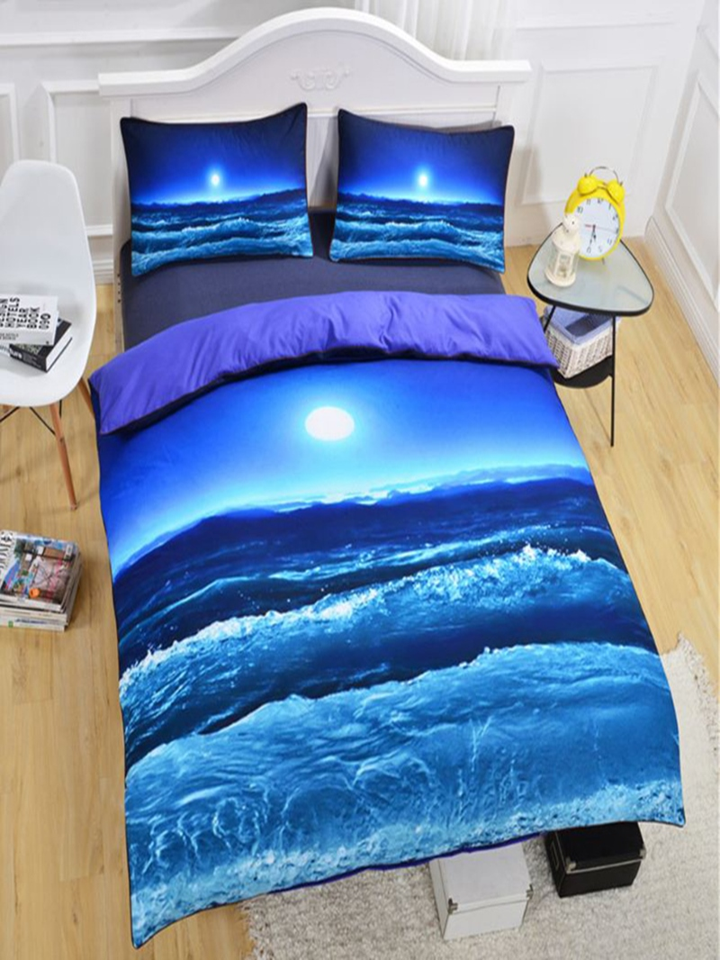 Vivilinen 3D Sea Scenery and the Moon Printed Polyester 3-Piece Black Bedding Sets