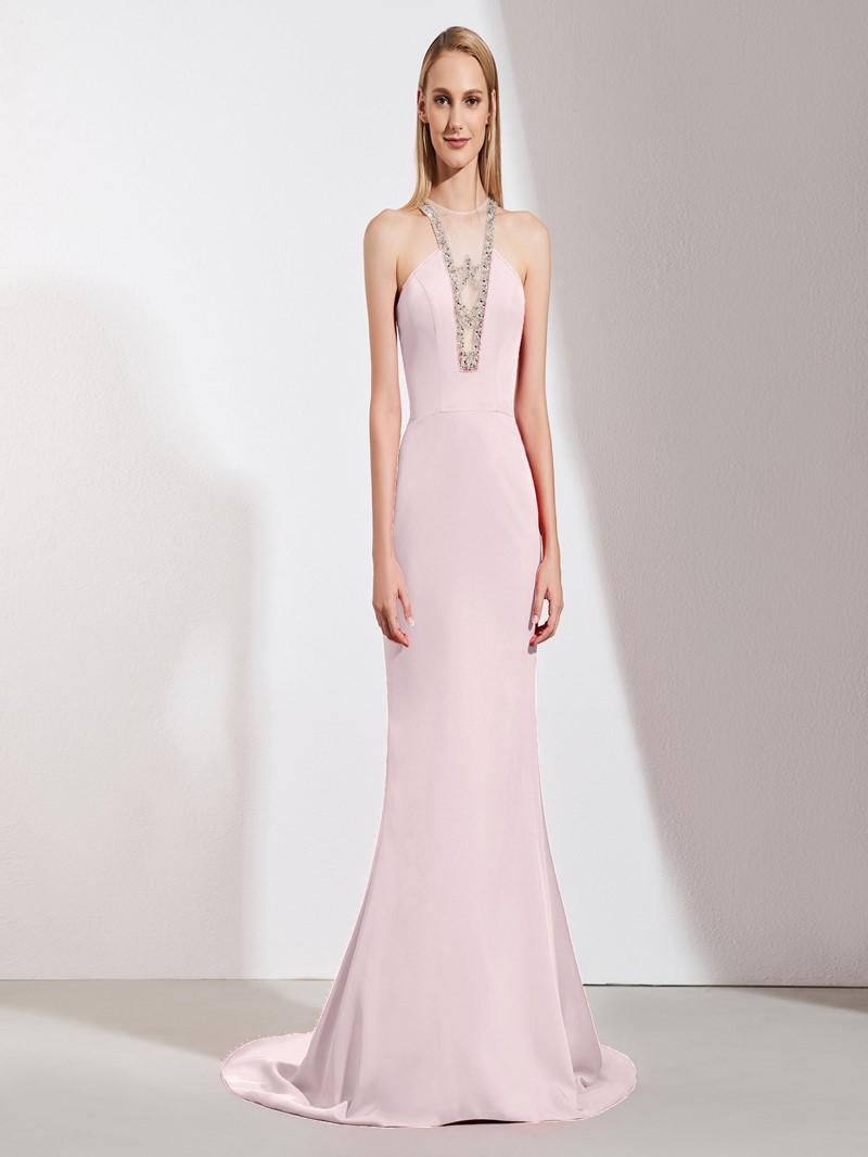 Ericdress Halter Mermaid Evening Dress With Beadings