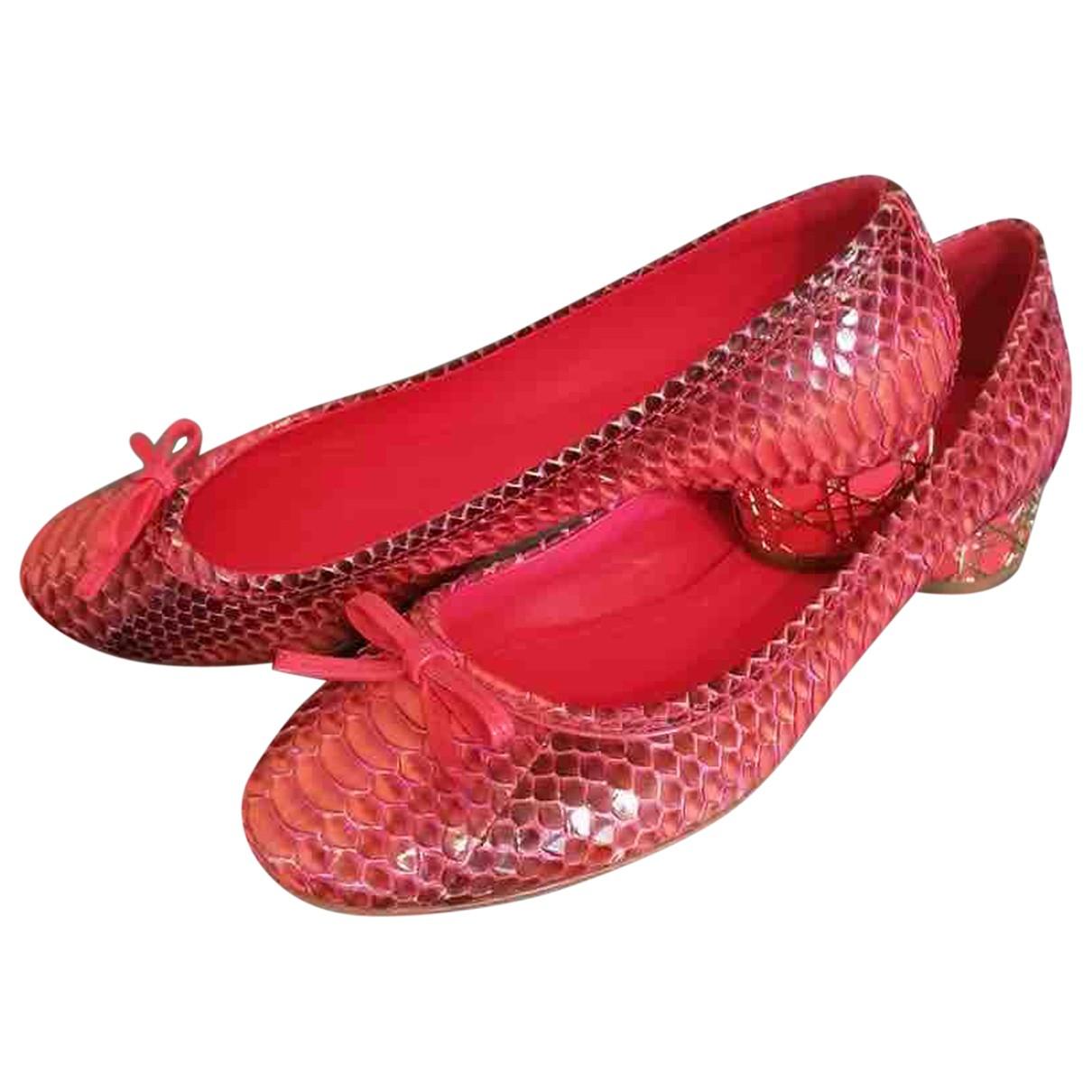 Dior \N Ballerinas in  Rosa Python