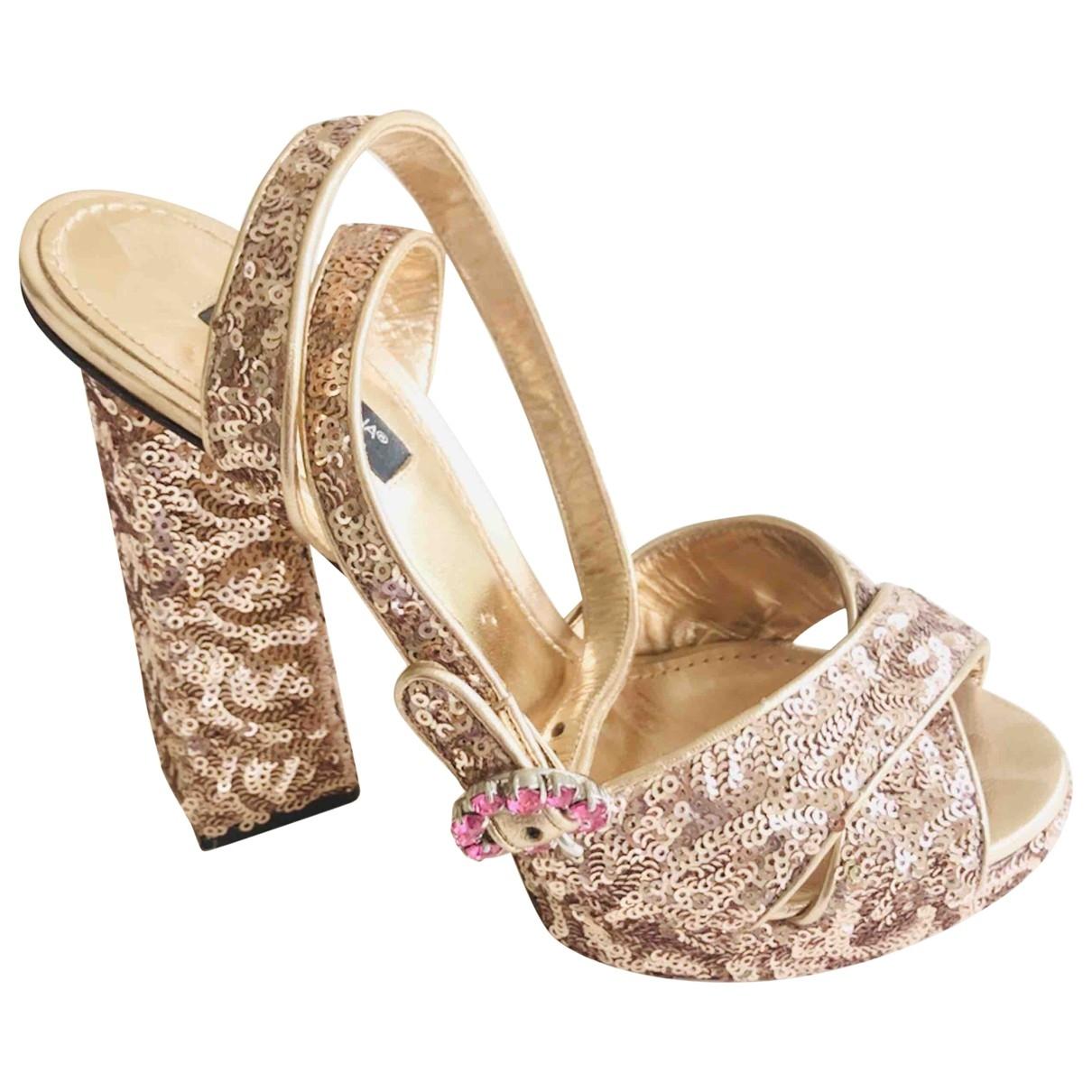 Dolce & Gabbana \N Gold Glitter Sandals for Women 37.5 EU