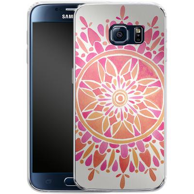 Samsung Galaxy S6 Silikon Handyhuelle - Mandala Pink Ombre von Cat Coquillette
