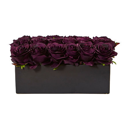 Dozen Silk Roses in Ceramic Rectangular Planter, One Size , Purple