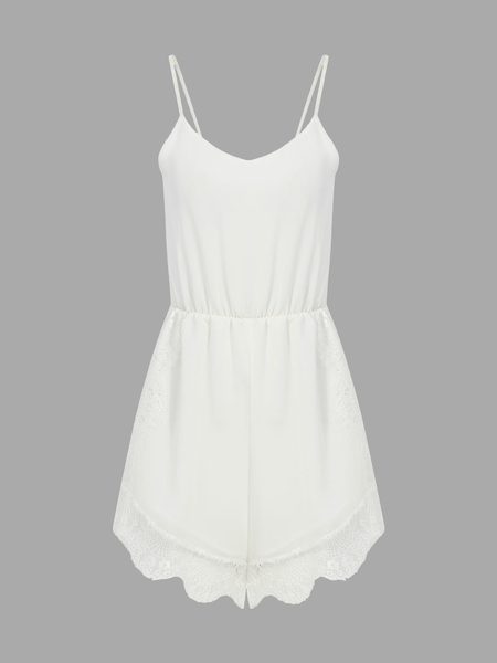 Yoins Chiffon Cami Playsuit With Lace Trim In White