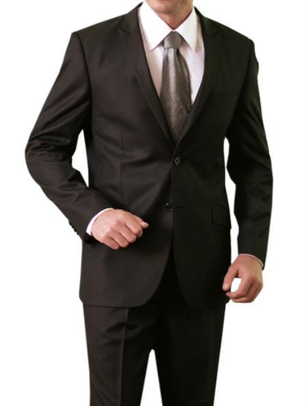 2Button Shiny Solid Black Shark Skin Front Closure Slim Fit Mens Suit