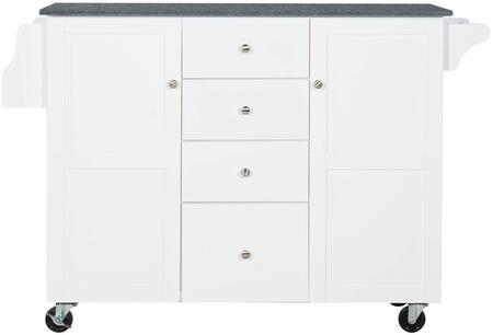 KI104WHTAB Alanis Kitchen Cart  With White Painted Finish  Two Large Compartments Each With Slide Out Shelf And Two Drawers Feature Cube Partitions