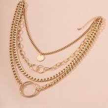 Round Decor Layered Necklace