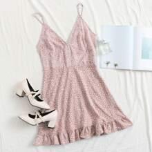 Ruffle Hem All Over Print Cami Dress