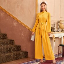 Collared Buttoned Front Lantern Sleeve Wide Leg Jumpsuit