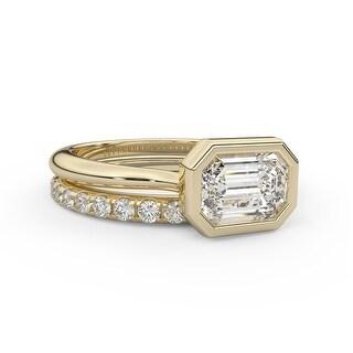 2.35 CT Moissanite Diamond East West Emerald Bezel Diamond Bridal Set (4.25 - Yellow)