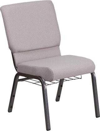 Hercules Collection FD-CH02185-SV-GYDOT-BAS-GG Multipurpose Church Chair with Book Rack  Communion Cup Holder  Contemporary Style  Floor Protector