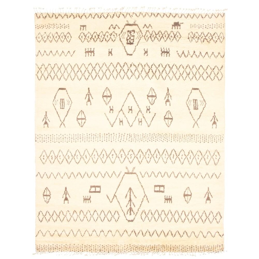 ECARPETGALLERY  Hand-knotted Pak Finest Marrakesh Cream Wool Rug - 8'1 x 10'2 (Cream - 8'1 x 10'2)