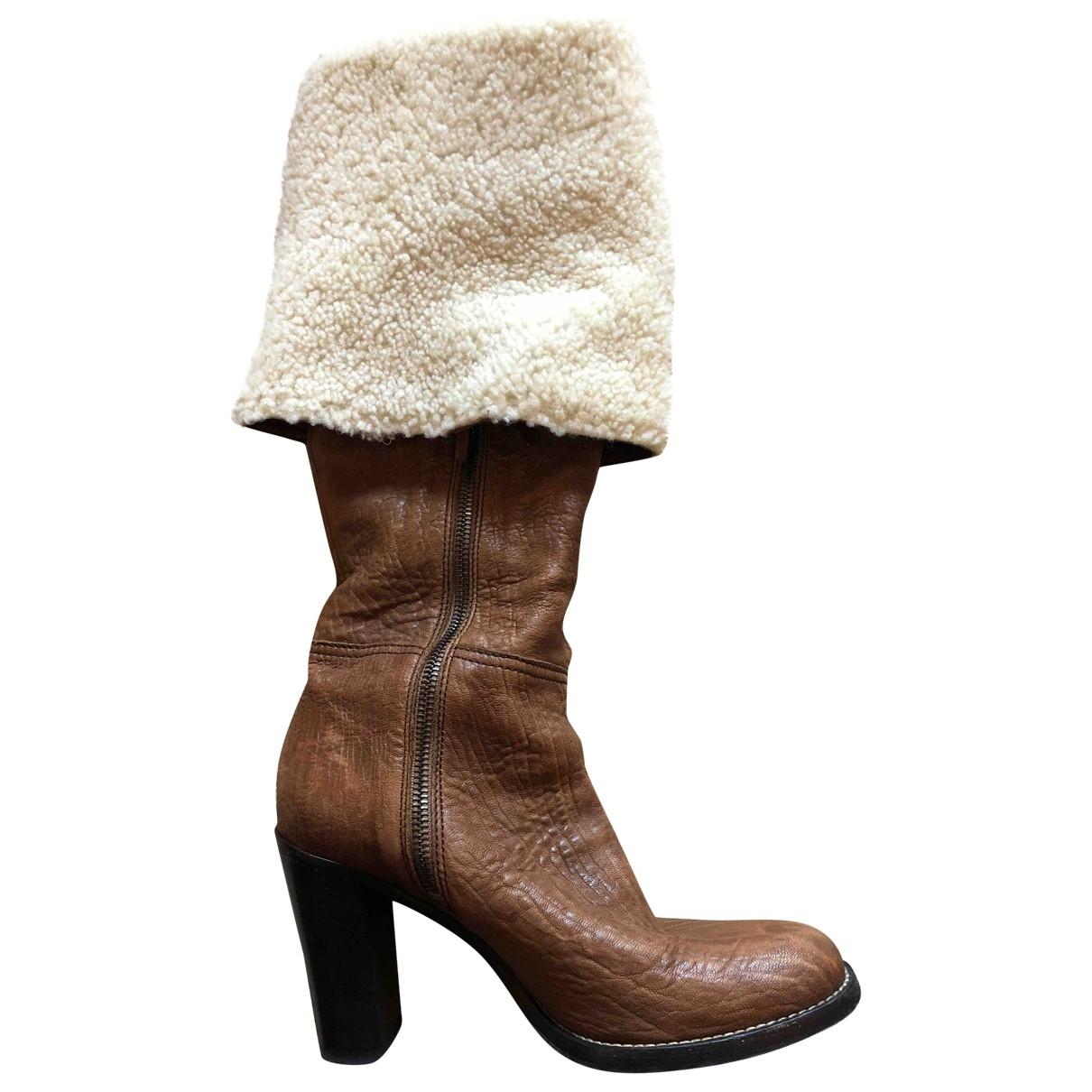 Miu Miu - Bottes   pour femme en cuir - marron