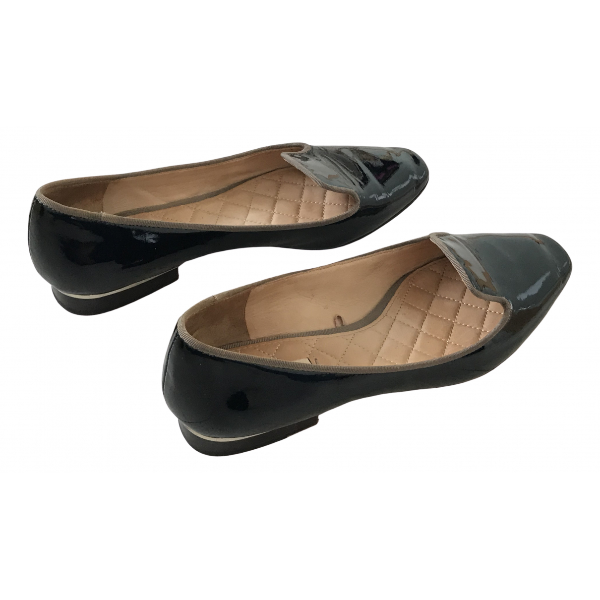 Massimo Dutti \N Black Patent leather Flats for Women 39 EU