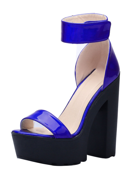 Milanoo Platform High Heel Sandals Open Toe Ankle Strap Chunky Heel Sandals for Women