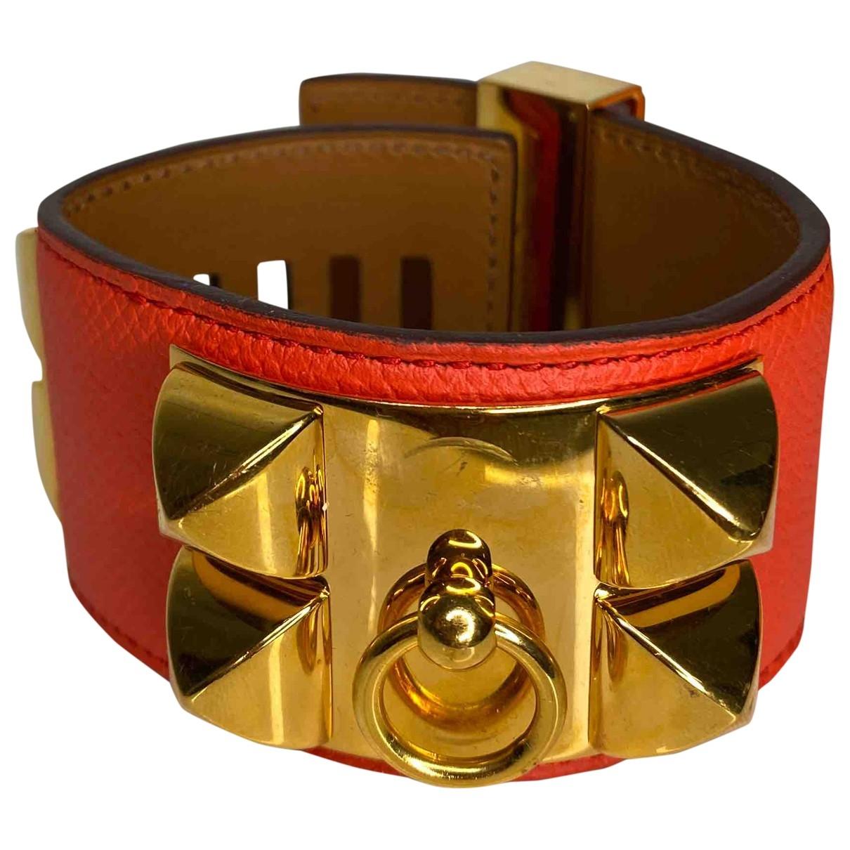 Hermes - Bracelet Collier de chien  pour femme en cuir - orange
