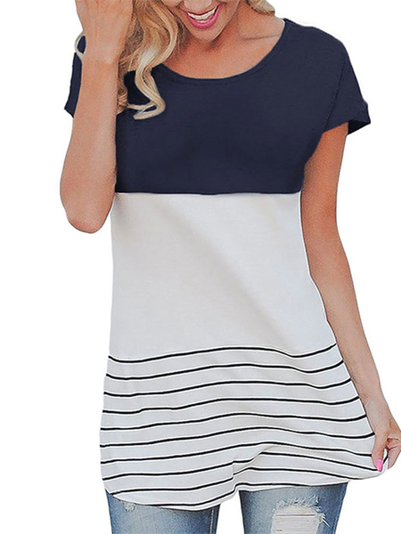 Yoins Contrast Color Stitching Stripe Pattern Top in Navy
