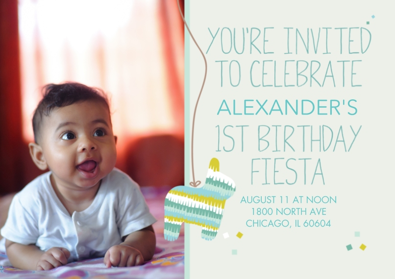 1st Birthday Invitations 5x7 Cards, Premium Cardstock 120lb with Scalloped Corners, Card & Stationery -1st Birthday Fiesta