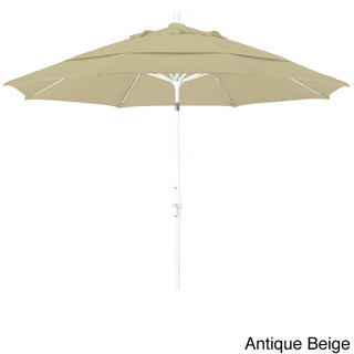 Perry 11ft Crank Lift Aluminum Round Umbrella by Havenside Home, Base Not Included (Antique Beige)