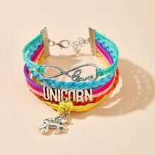Unicorn Charm Layered Bracelet