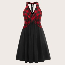 Kleid mit Band, Karo Muster und Neckholder