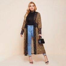 Plus Lace Trim Leopard Print Kimono
