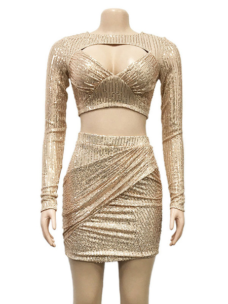 Milanoo Two Piece Sets Silver Polyester Jewel Neck Sequins Sexy Long Sleeves Women Outfit