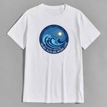 T-Shirt mit Welle und Buchstaben Grafik