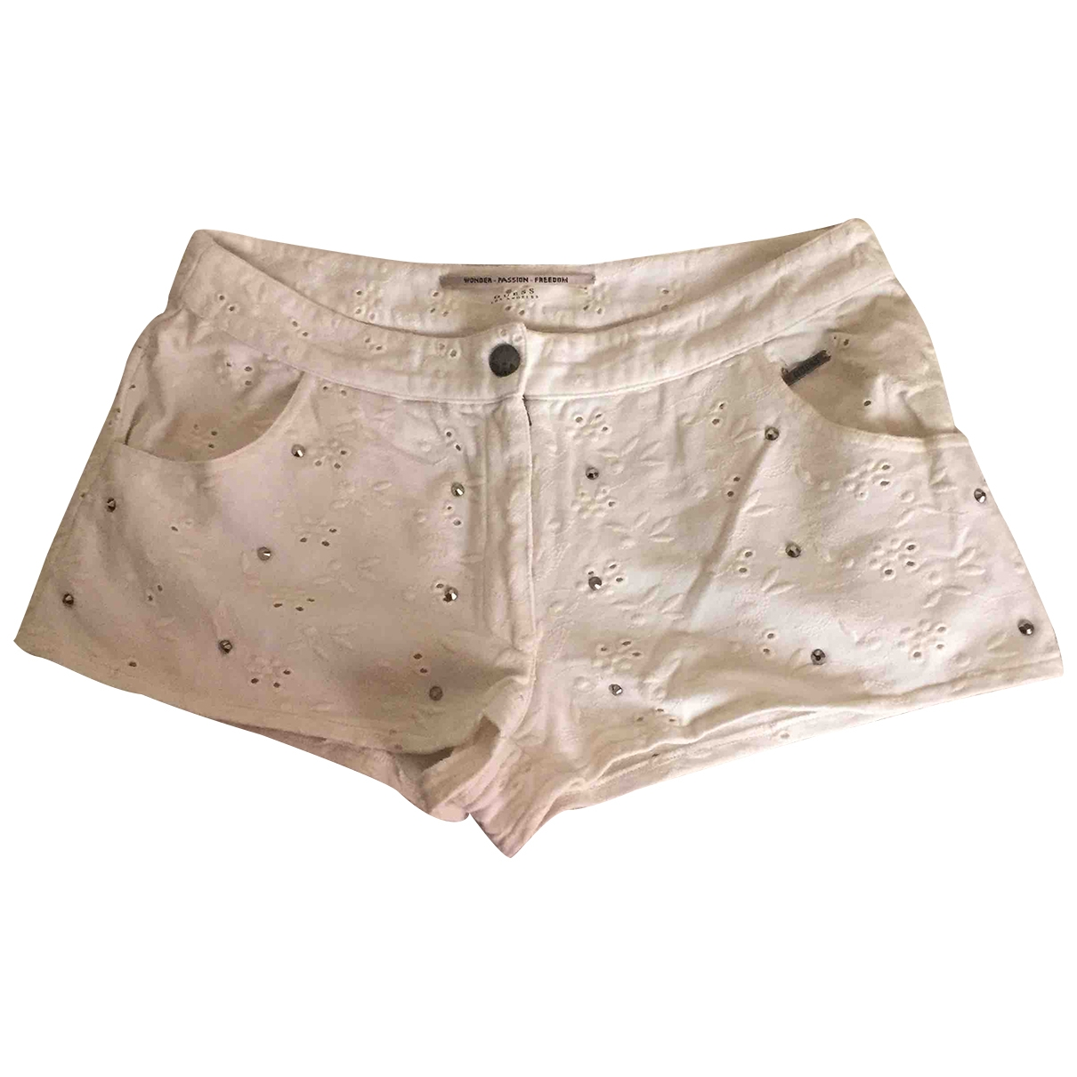 Guess - Short   pour femme en coton - blanc