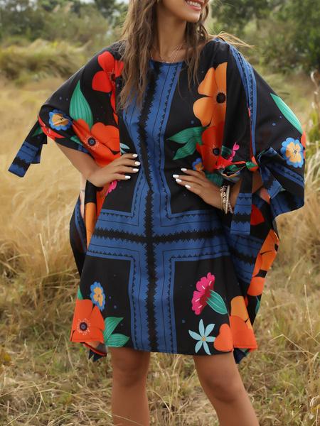 Milanoo Oversized Summer Dresseses Floral Print Shift Dresses