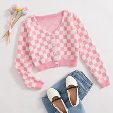 Girls Checked Button Up Cardigan