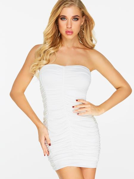 Yoins White Pleated Design Plain Strapless Backless Sleeveless Dress