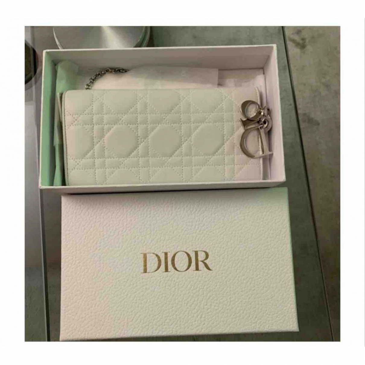 Dior \N Clutch in  Weiss Leder