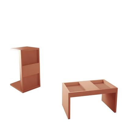 Marine Collection 2-13LC2 Set of 2 Coffee and Side Table with Interchangable Design in Matte Ceramic Pink