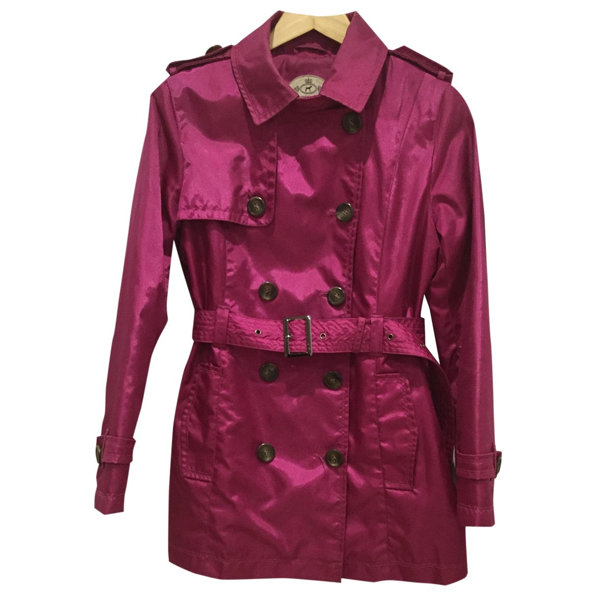 Non Signe / Unsigned \N Trench in  Bordeauxrot Polyester