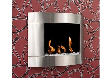 BB-D1I Diamond I Bio Ethanol Fireplace with 3 Round Burners  6824 BTU Heat Capacity  Hanging system  Funnel  Marble Stones  Lighter and Extinguish