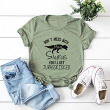 Camiseta con estampado de dinosaurio y letra - grande