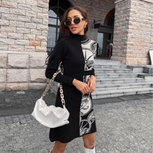 Graphic Pattern Mock Neck Sweater Dress
