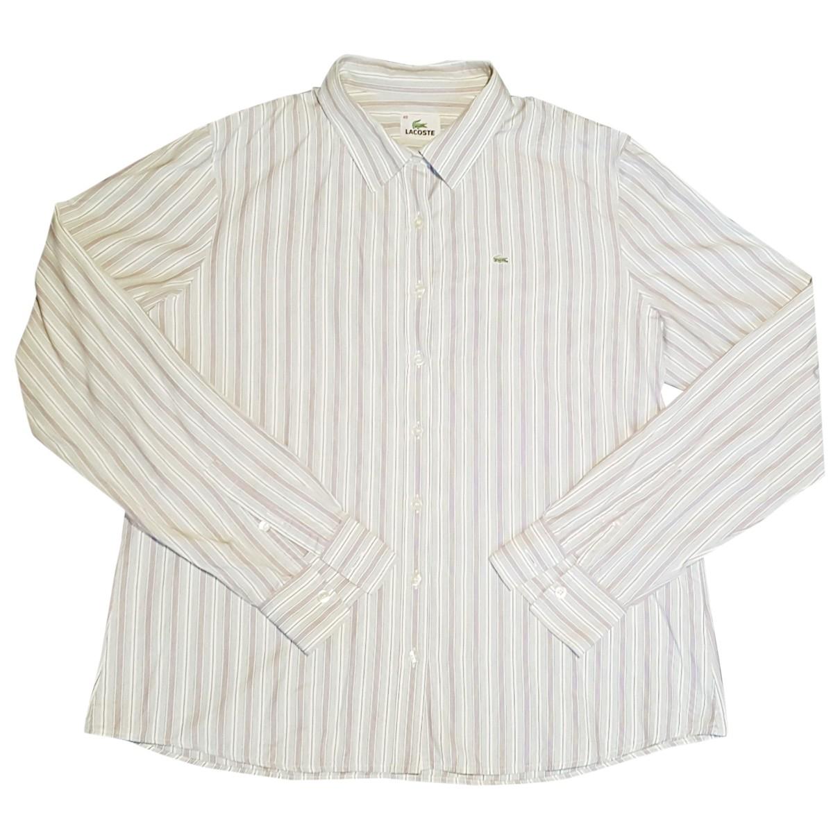 Lacoste - Top   pour femme en coton - ecru