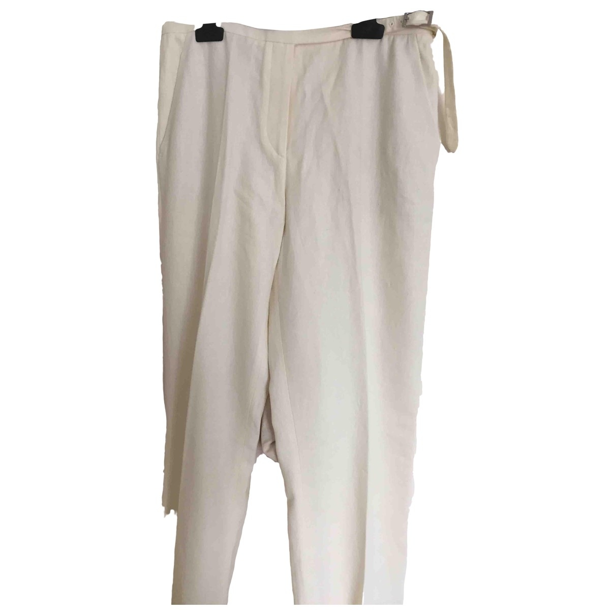 Hermès \N Ecru Linen Trousers for Women 40 FR