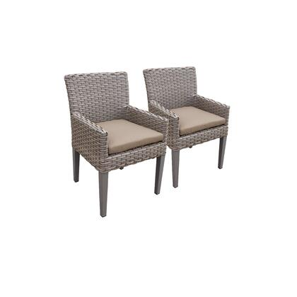 TKC297b-DC-C-WHEAT 2 Oasis Dining Chairs With Arms with 2 Covers: Grey and